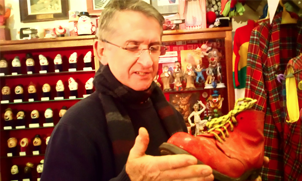 Big shoes to fill: Mattie Faint, curator of the Clowns' Gallery and Museum in Dalston and experienced clown