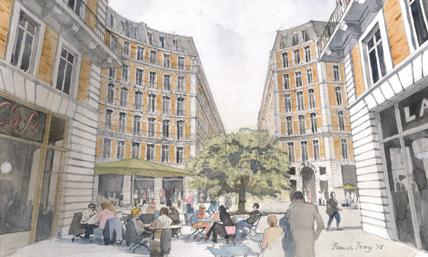 Create Streets has worked on plans to develop Mount Pleasant. Watercolour by Francis Terry