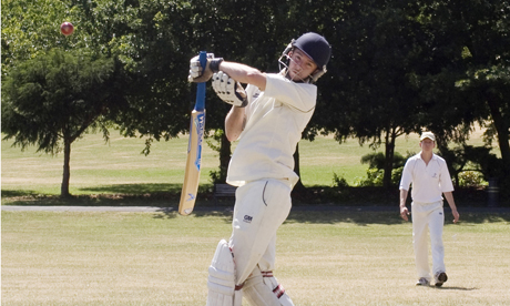 High and dry: London Fields opening batsman Robin Friend fends away a short-pitched delivery at a parched Springfield Park. Photo: Stuart York