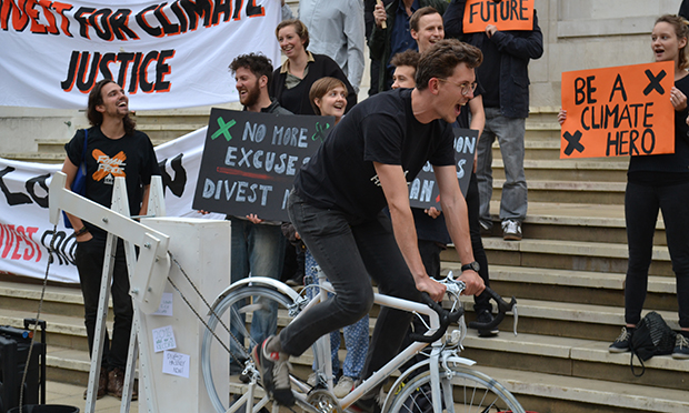 Turning up the heat: Divest Hackney campaigners protesting yesterday