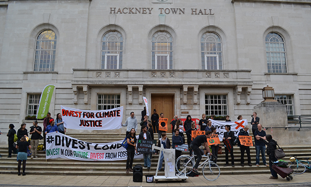 Town Hall criers: Banners were unfurled to highlight the climate change crisis