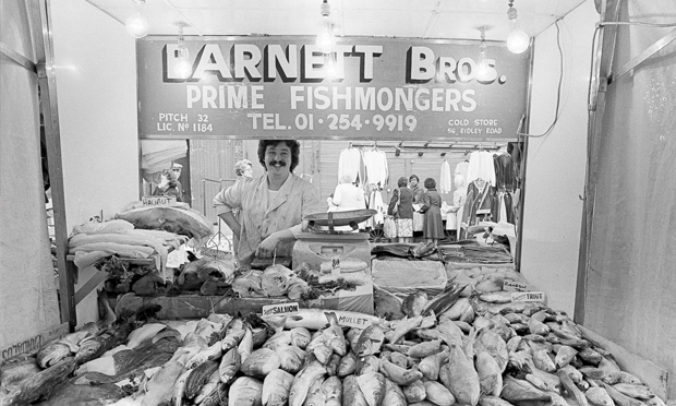 Fishy: Neil Neil Martinson's 'Another Time Another Place: Hackney in the 70s & 80s' exhibition at Stour Space includes this Ridley Road trader. Photograph courtesy of the artist
