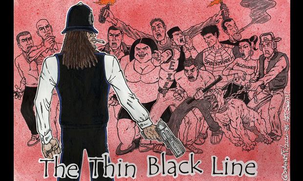 Scotland Yardie (one of the characters from Skank magazine revived for a recent graphic novel) as drawn by Perspectives participant Danny F. Image courtesy of the artist