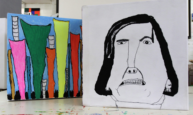 """""""From intricate ink drawings to block-colour sculptures"""": a pair of works from Making Faces. Photograph: Headway East London"""