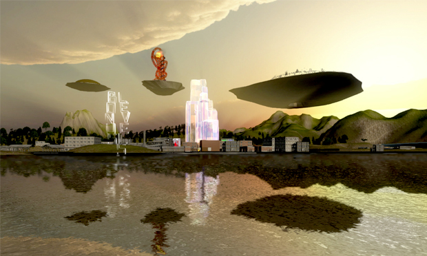 A virtual view from Hackney Wick of the Olympic Park, as found in Lawrence Lek's Delirious New Wick. © Lawrence Lek