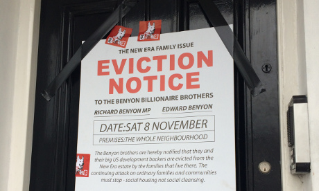 Protesters served the Benyon Estate with a mock Section 21 eviction notice.