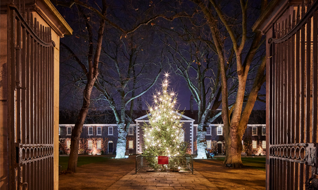 Goodbye at the gates: the Geffrye almshouses lit up for Christmas. Photograph: Hannah Taylor