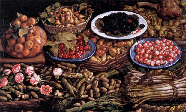 Still life of fruit, vegetables and roses (Natura morta di frutta, ortaggi e rose) by Vincenzo Campi