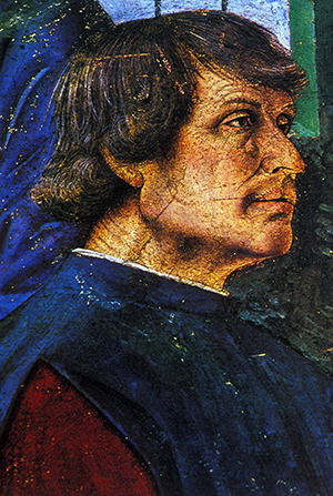 Detail from Melozzo da Forlì's Sixtus IV appoints Bartolomeo Platina Prefect of the Vatican Library (c. 1477). Image: Wikimedia Commons