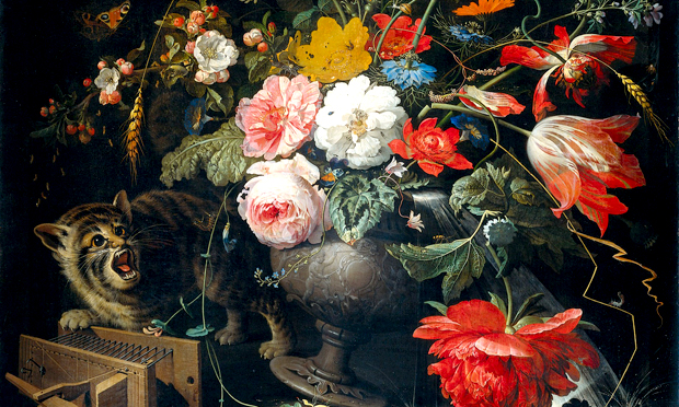 Abraham Mignon's Bouquet with cat and mousetrap (c. 1670). Image: Wikimedia Commons