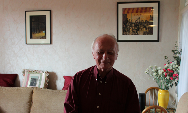 Peter Gosnell in front of two of his pastel works. Photographs: Andrew Barnes