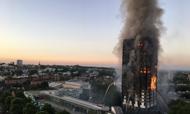Grenfell Tower fire. Photograph: Natalie Oxford via Twitter