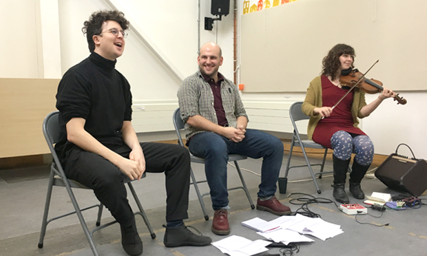 Rehearsal: (l-r) Olly Hawes, Nick Cassenbaum, Anna Lowenstein prepare to tell twenty stories from the Wick in You, Me, The World... Photograph: Katherine Igoe-Ewer