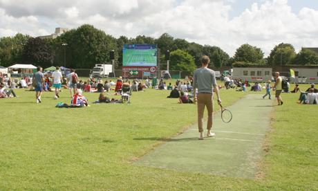 Olympic screen at Haggerston Park