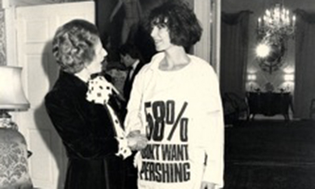Katharine Hamnett and Margaret Thatcher
