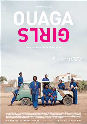 The poster for Ouaga Girls (d. Theresa Traore Dahlberg)