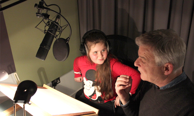 Author Glevisa and Penguin Random House Audio's Roy McMillan in the company's professional audio studio on The Strand. Photograph: Penguin Random House UK / Ministry of Stories