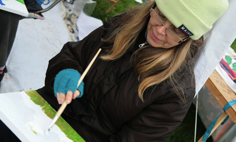 Artists created works for the exhibition as part of a day of action on the Marshes last year. Photograph: Save Lea Marshes