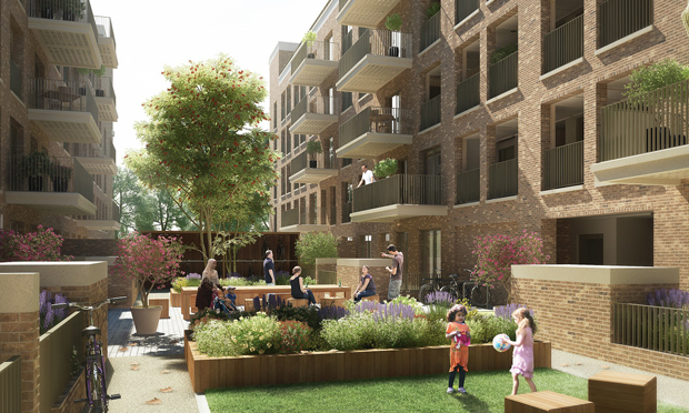 A render of how the £200 million regeneration of Nightingale Estate will look. Image credit: Hackney Council