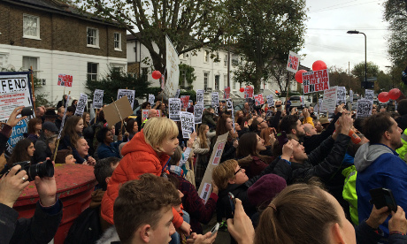Hoxton to De Beauvoir: Crowds gather outside the Benyon Estate offices. Photograph: @architectjj