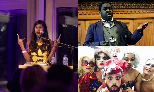 Left: Ash Sarkar. Photograph: Twitter | Top-right: Ife Grillo. Photograph: Annabel Moeller | Bottom-right: The LipSinkers. Photograph: Twitter