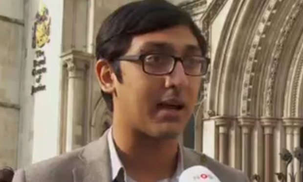 Chowdhury outside the Royal Courts of Justice. Could a law career beckon? Photograph: Tahmid Chowdhury/Twitter