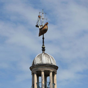 The weathervane and cupola. Photograph: Simon Mooney