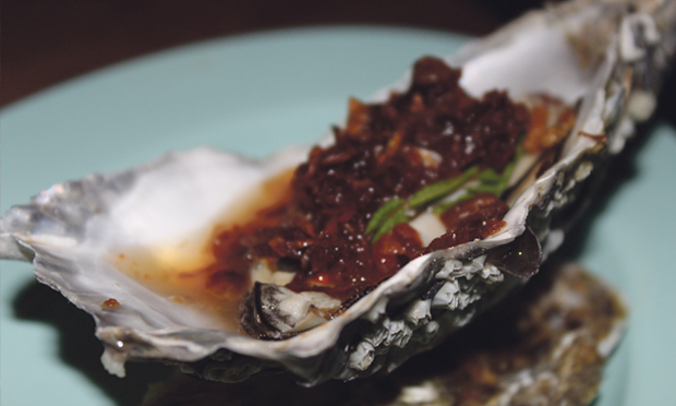 Steamed Menai Oyster with Roasted Chilli