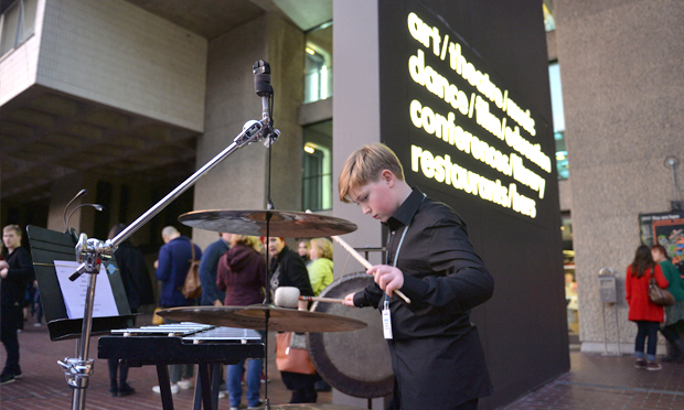 Crash the party: a cymbal-ic scene from the 2015 event. Photograph: Mark Allan