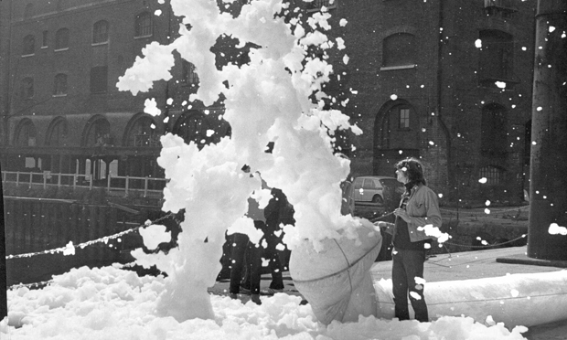Foam: artists let loose outside the aforementioned I-Site. Photograph: Douglas Smith