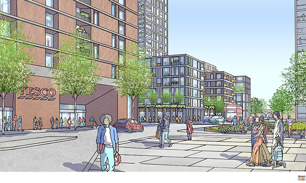 An image from the council's masterplan showing how the redeveloped Morning Lane Tesco could look