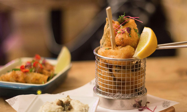 Tapas style: The Brook does a great line in fried vegan goodies to share. Photograph: The Brook