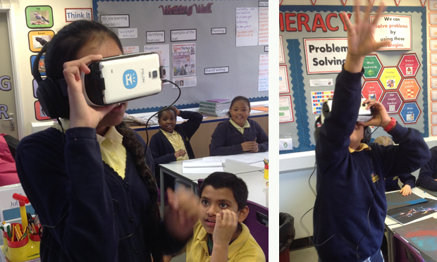 'Best day of school!' Pupils get animated using a virtual reality headset. Photograph: Jubilee Primary School